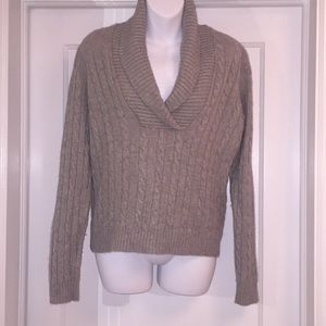 Cable Cowlneck Cashmere Sweater